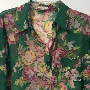 Pleione Floral sheer Long sleeves blouse green